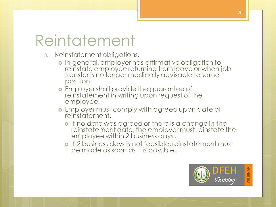 Reintatement 3. Reinstatement obligations.
