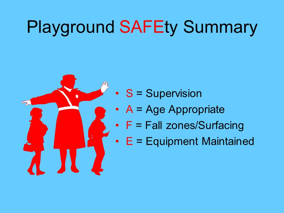 Playground SAFEty Summary S = Supervision A = Age Appropriate F = Fall zones/Surfacing E = Equipment Maintained