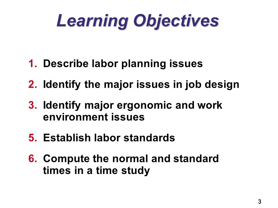 3 Learning Objectives 1.Describe labor planning issues 2.Identify the major issues in job design 3.Identify major ergonomic and work environment issue