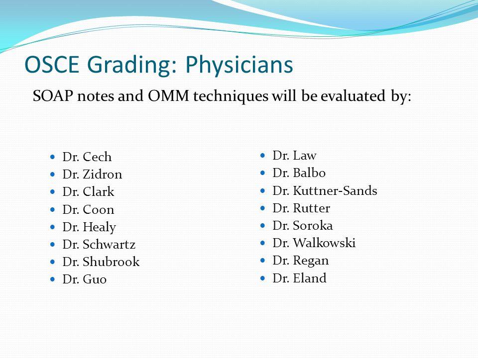 OSCE Grading: Physicians Dr. Cech Dr. Zidron Dr. Clark Dr. Coon Dr. Healy Dr. Schwartz Dr. Shubrook Dr. Guo Dr. Law Dr. Balbo Dr. Kuttner-Sands Dr. Ru