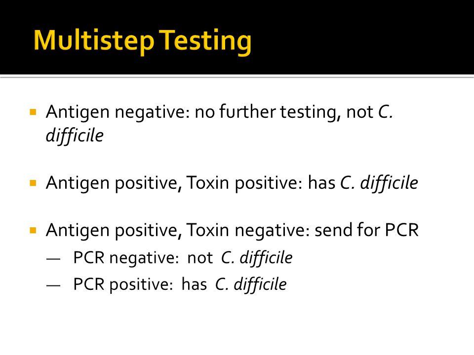  Antigen negative: no further testing, not C. difficile  Antigen positive, Toxin positive: has C.
