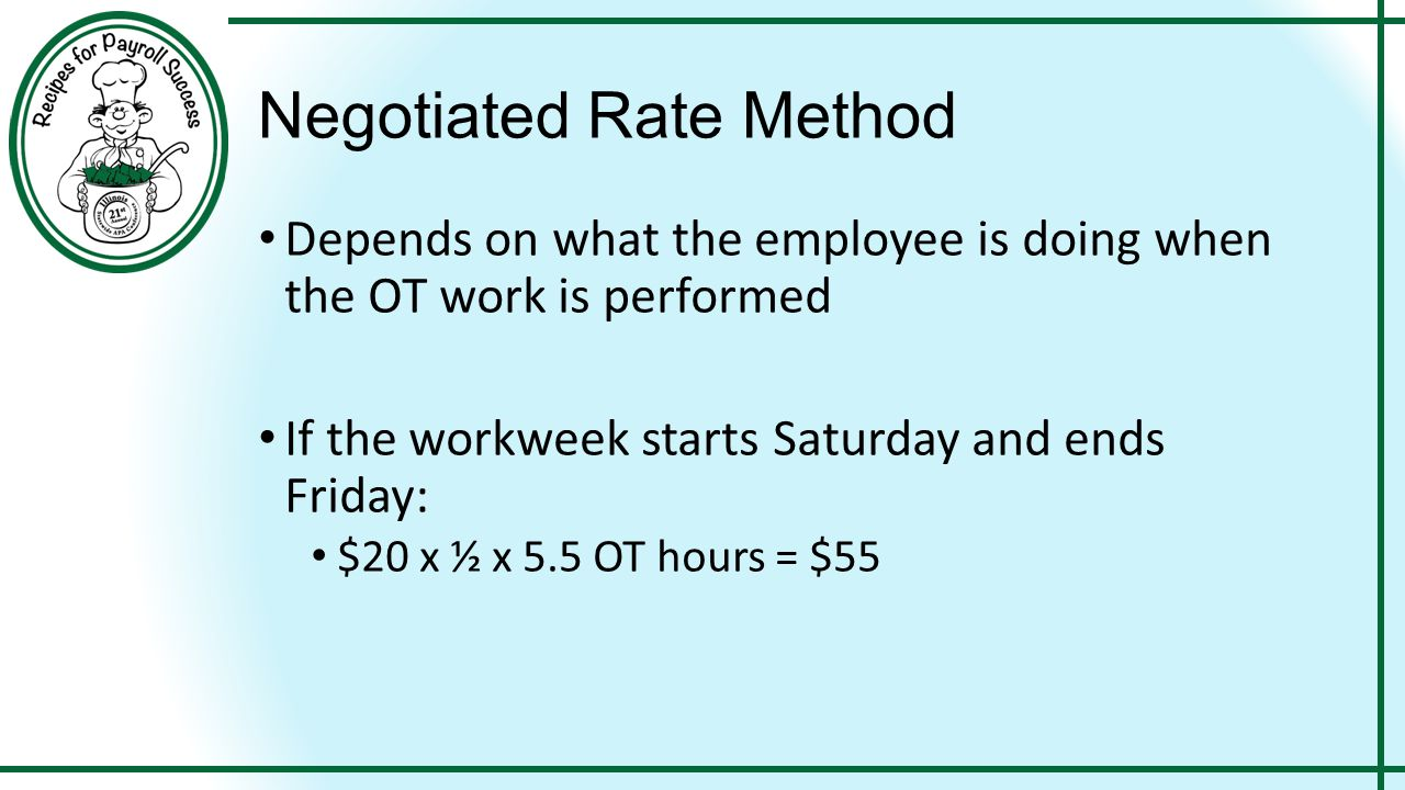 Negotiated Rate Method Depends on what the employee is doing when the OT work is performed If the workweek starts Saturday and ends Friday: $20 x ½ x