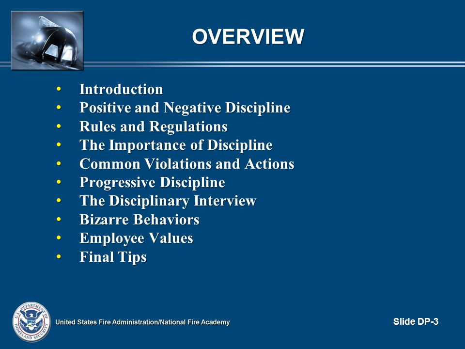 THE IMPORTANCE OF DISCIPLINE (cont d) To the CO To the CO – Provides tools to deal with improper behavior – Increases company efficiency – Provides framework for equitable and fair treatment – Authority to discipline contributes to CO s powerbase – Earns respect – Improves individual subordinate s performance – Increase self-discipline Slide DP-14