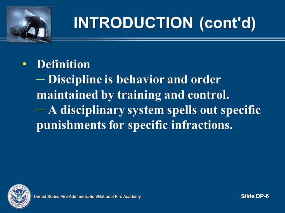Activity DP.1 Reasons Discipline Is Avoided Slide DP-7