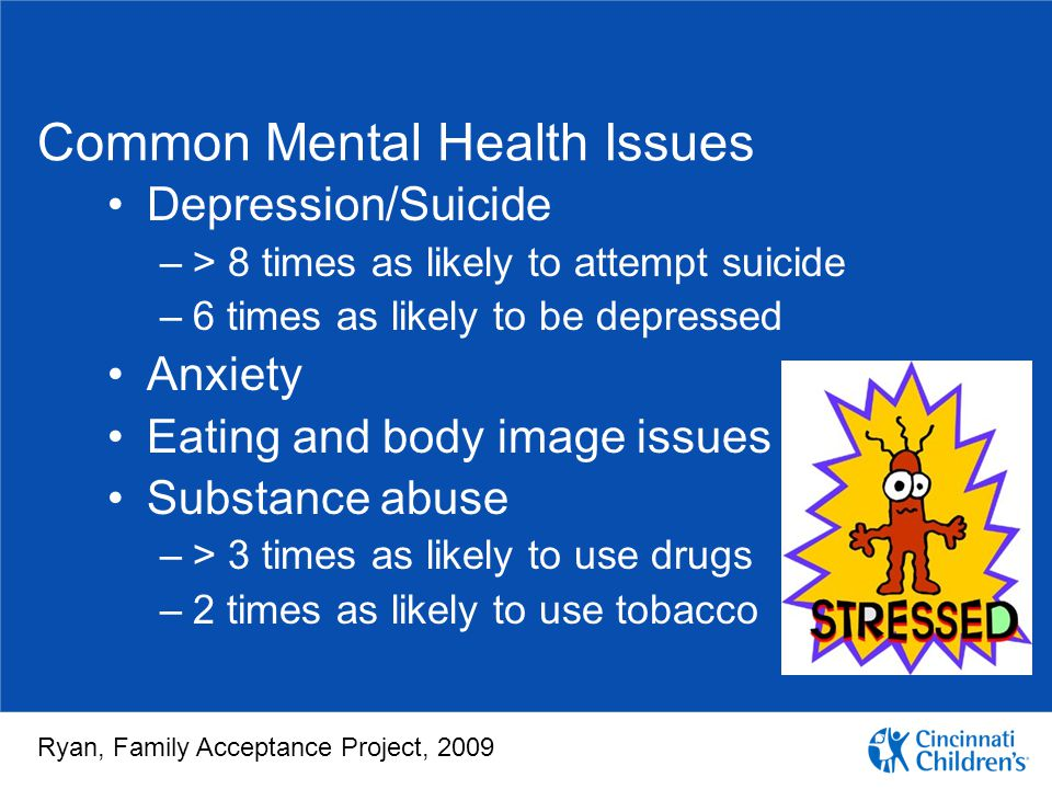 Common Mental Health Issues Depression/Suicide –> 8 times as likely to attempt suicide –6 times as likely to be depressed Anxiety Eating and body imag
