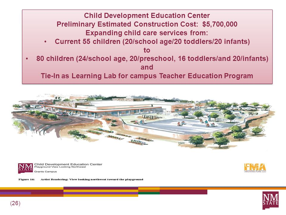 (26) Child Development Education Center Preliminary Estimated Construction Cost: $5,700,000 Expanding child care services from: Current 55 children (20/school age/20 toddlers/20 infants) to 80 children (24/school age, 20/preschool, 16 toddlers/and 20/infants) and Tie-In as Learning Lab for campus Teacher Education Program Child Development Education Center Preliminary Estimated Construction Cost: $5,700,000 Expanding child care services from: Current 55 children (20/school age/20 toddlers/20 infants) to 80 children (24/school age, 20/preschool, 16 toddlers/and 20/infants) and Tie-In as Learning Lab for campus Teacher Education Program