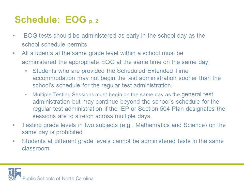 Schedule: EOG p.