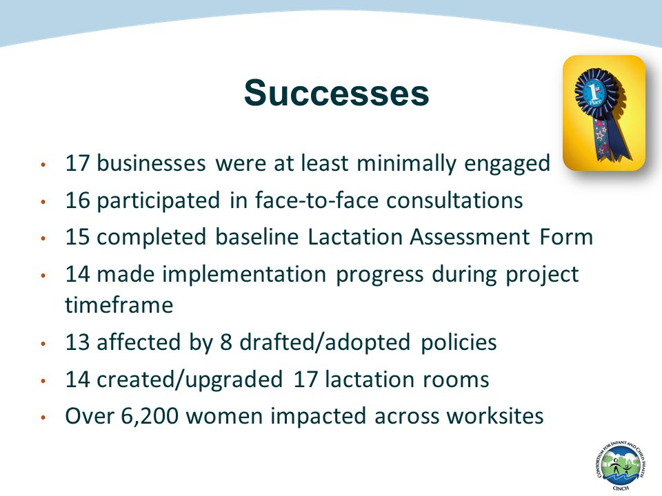 Successes 17 businesses were at least minimally engaged 16 participated in face-to-face consultations 15 completed baseline Lactation Assessment Form