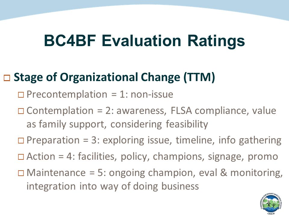 BC4BF Evaluation Ratings  Stage of Organizational Change (TTM)  Precontemplation = 1: non-issue  Contemplation = 2: awareness, FLSA compliance, value as family support, considering feasibility  Preparation = 3: exploring issue, timeline, info gathering  Action = 4: facilities, policy, champions, signage, promo  Maintenance = 5: ongoing champion, eval & monitoring, integration into way of doing business