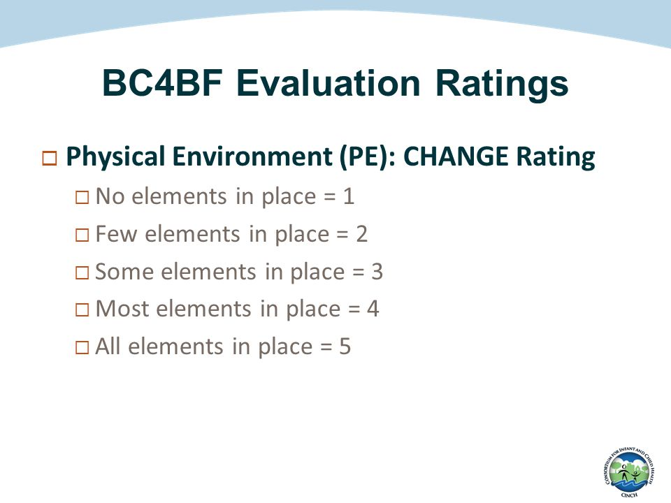 BC4BF Evaluation Ratings  Physical Environment (PE): CHANGE Rating  No elements in place = 1  Few elements in place = 2  Some elements in place = 3  Most elements in place = 4  All elements in place = 5