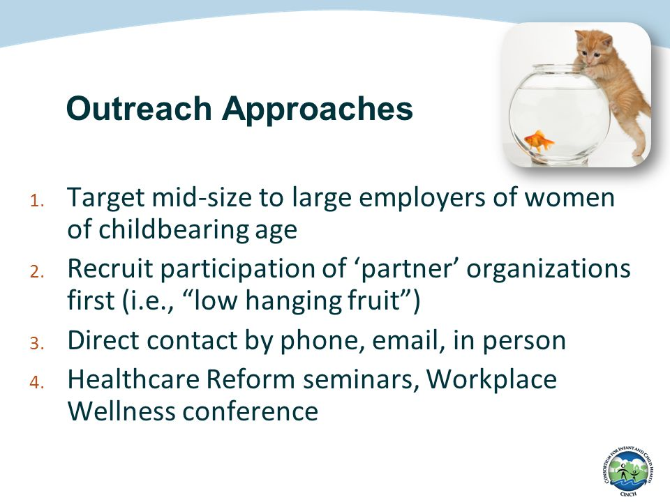 Outreach Approaches 1.Target mid-size to large employers of women of childbearing age 2.