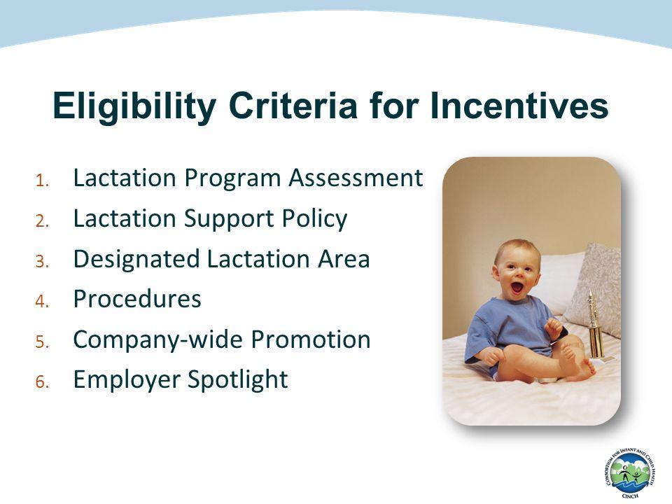1. Lactation Program Assessment 2. Lactation Support Policy 3. Designated Lactation Area 4. Procedures 5. Company-wide Promotion 6. Employer Spotlight