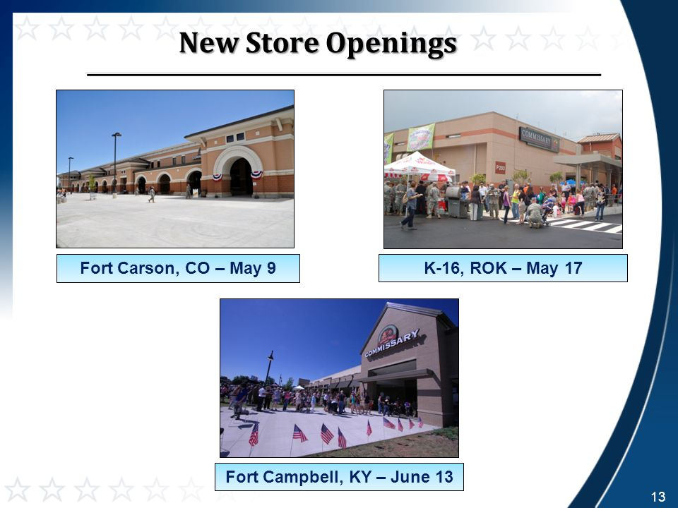 New Store Openings 13 Fort Campbell, KY – June 13 Fort Carson, CO – May 9K-16, ROK – May 17