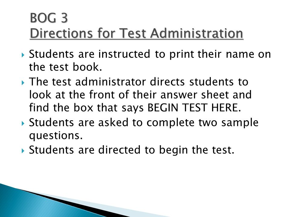  Students are instructed to print their name on the test book.