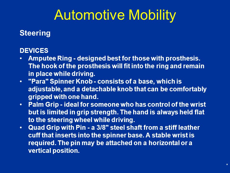 * Automotive Mobility Steering DEVICES Amputee Ring - designed best for those with prosthesis.
