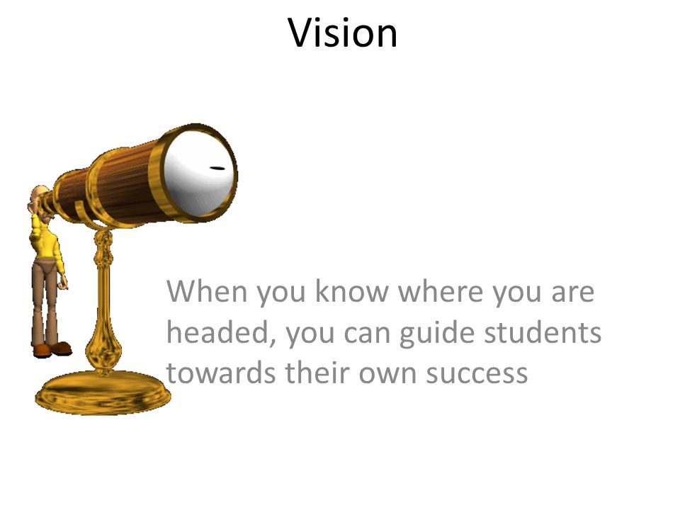 Vision When you know where you are headed, you can guide students towards their own success