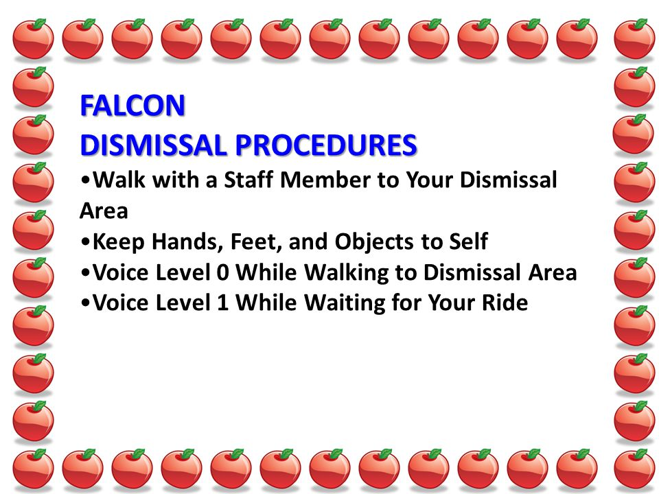 FALCON DISMISSAL PROCEDURES Walk with a Staff Member to Your Dismissal Area Keep Hands, Feet, and Objects to Self Voice Level 0 While Walking to Dismissal Area Voice Level 1 While Waiting for Your Ride