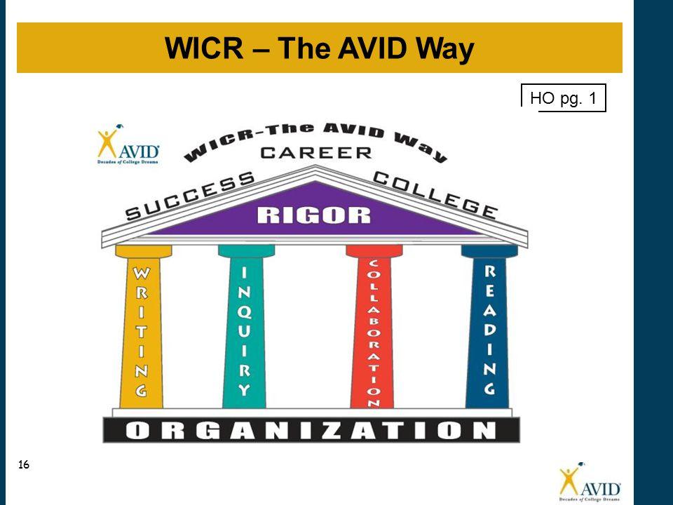 WICR – The AVID Way 16 HO pg. 1
