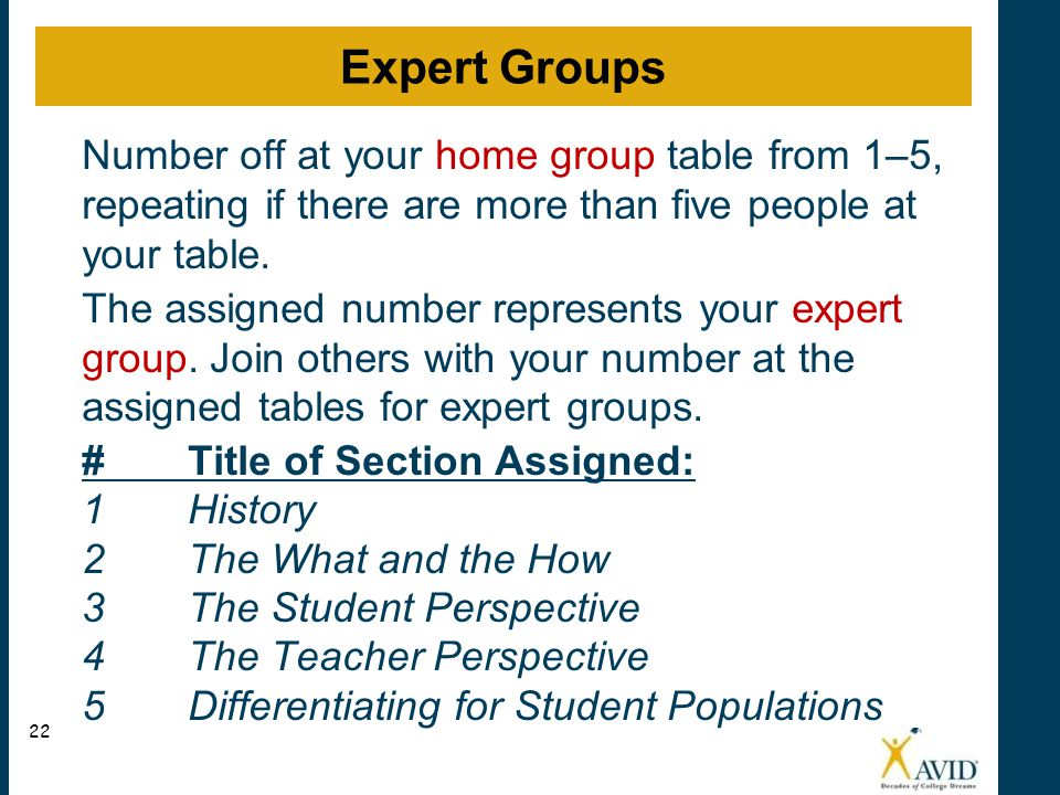 Number off at your home group table from 1–5, repeating if there are more than five people at your table. The assigned number represents your expert g