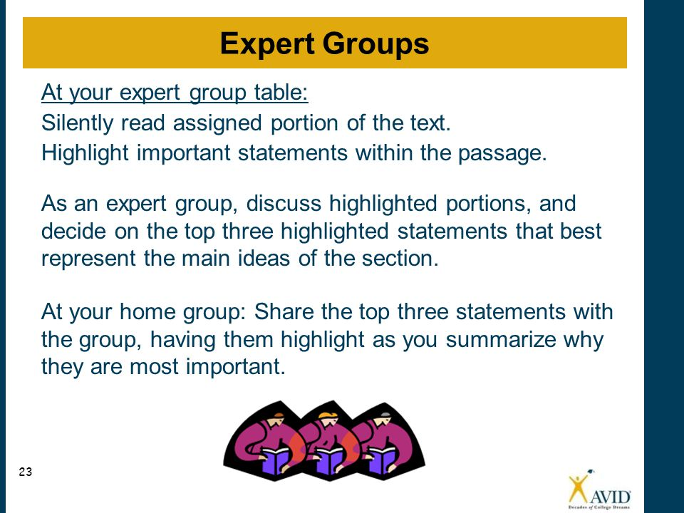 At your expert group table: Silently read assigned portion of the text.