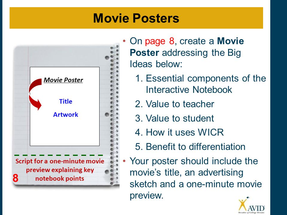 On page 8, create a Movie Poster addressing the Big Ideas below: 1.Essential components of the Interactive Notebook 2.Value to teacher 3.Value to student 4.How it uses WICR 5.Benefit to differentiation Your poster should include the movie's title, an advertising sketch and a one-minute movie preview.