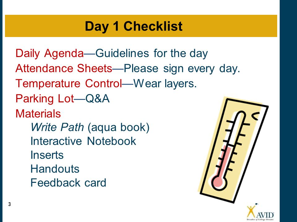 Daily Agenda—Guidelines for the day Attendance Sheets—Please sign every day. Temperature Control—Wear layers. Parking Lot—Q&A Materials Write Path (aq