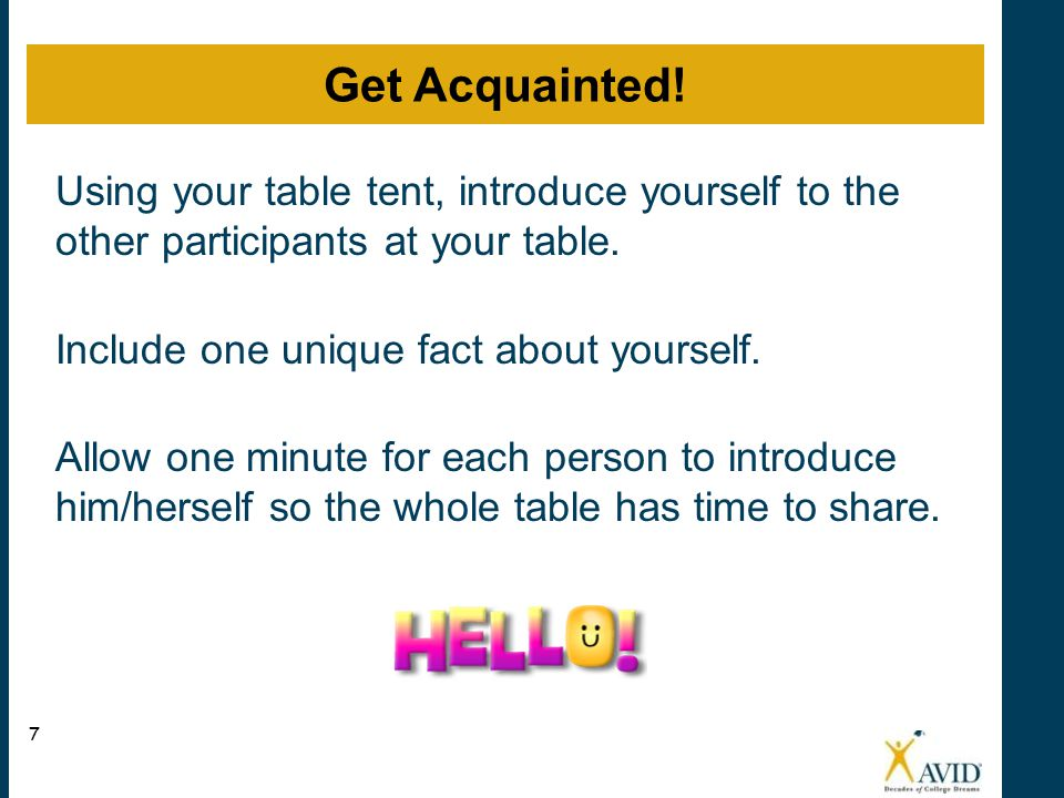 Using your table tent, introduce yourself to the other participants at your table. Include one unique fact about yourself. Allow one minute for each p