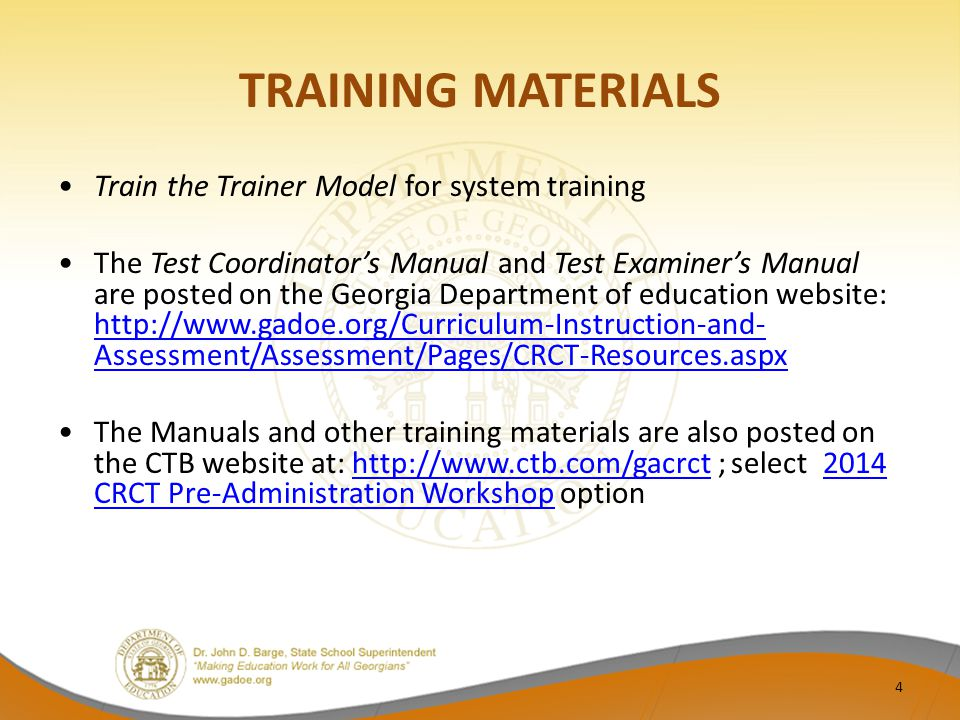Options for Packing Retest Scorable Materials Scorable Materials One Box Per School: – See page 33 of the CRCT Retest Test Coordinator's Manual.