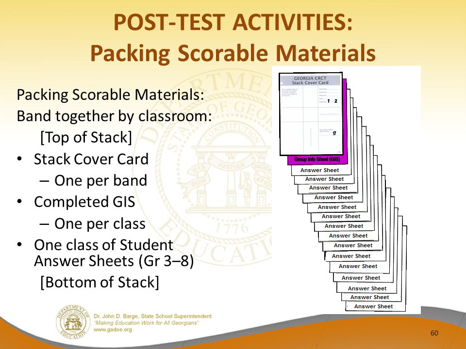 POST-TEST ACTIVITIES: Packing Scorable Materials Packing Scorable Materials: Band together by classroom: [Top of Stack] Stack Cover Card – One per band Completed GIS – One per class One class of Student Answer Sheets (Gr 3–8) [Bottom of Stack] 60