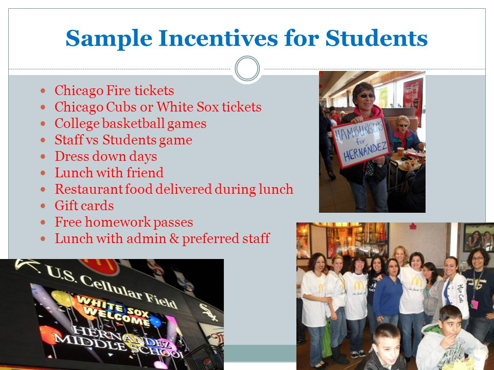 Sample Incentives for Students Chicago Fire tickets Chicago Cubs or White Sox tickets College basketball games Staff vs Students game Dress down days Lunch with friend Restaurant food delivered during lunch Gift cards Free homework passes Lunch with admin & preferred staff