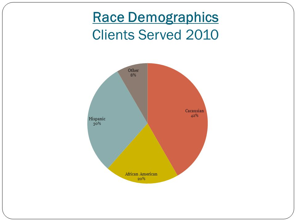 Race Demographics Clients Served 2010
