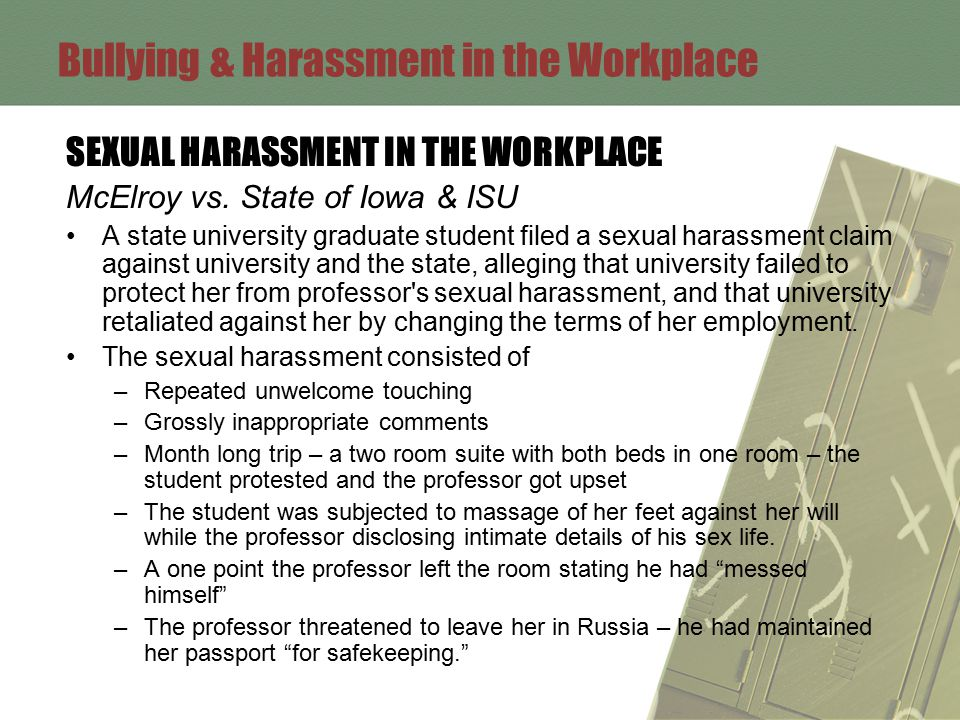 Bullying & Harassment in the Workplace SEXUAL HARASSMENT IN THE WORKPLACE McElroy vs.