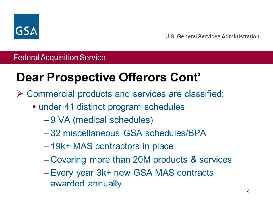 Federal Acquisition Service U.S. General Services Administration Dear Prospective Offerors Cont' 5