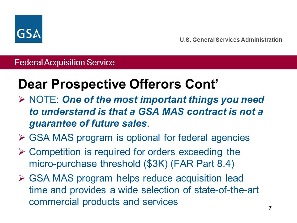 Federal Acquisition Service U.S.General Services Administration Yes.