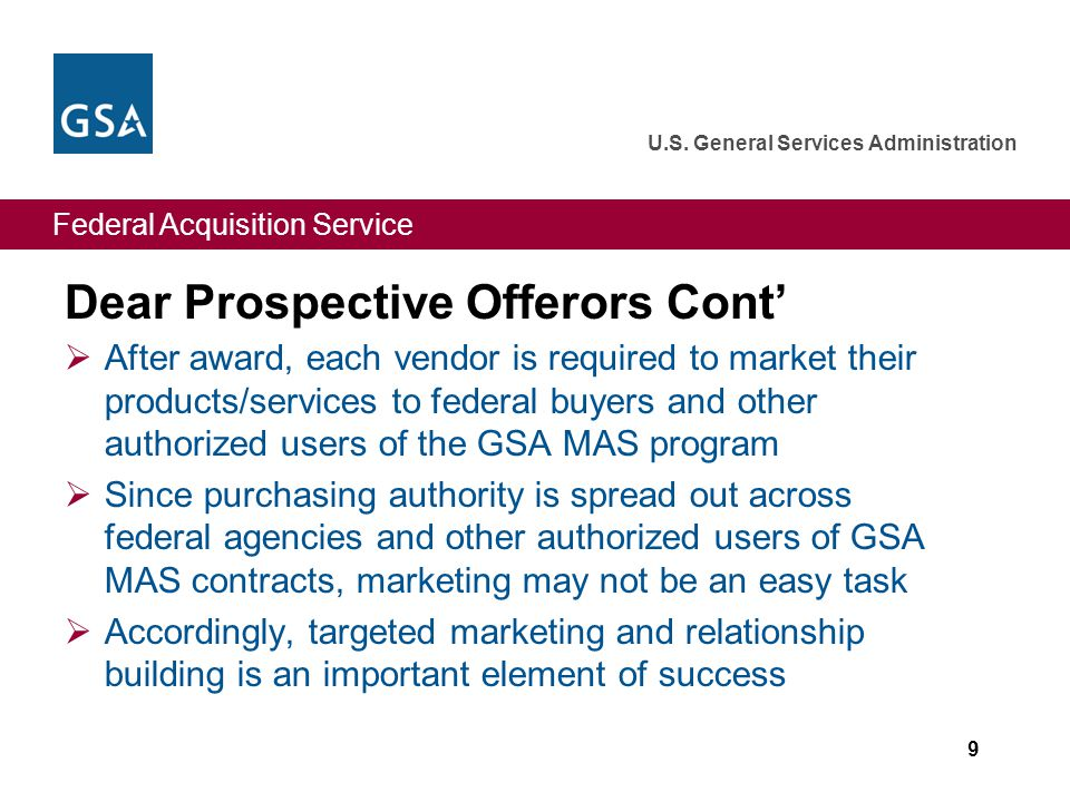 Federal Acquisition Service U.S. General Services Administration Dear Prospective Offerors Cont' 10