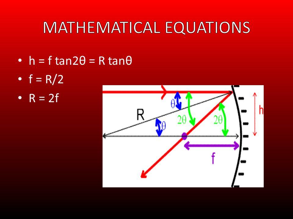 h = f tan2θ = R tanθ f = R/2 R = 2f