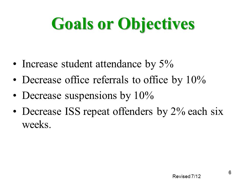Revised 7/12 6 Goals or Objectives Increase student attendance by 5% Decrease office referrals to office by 10% Decrease suspensions by 10% Decrease I