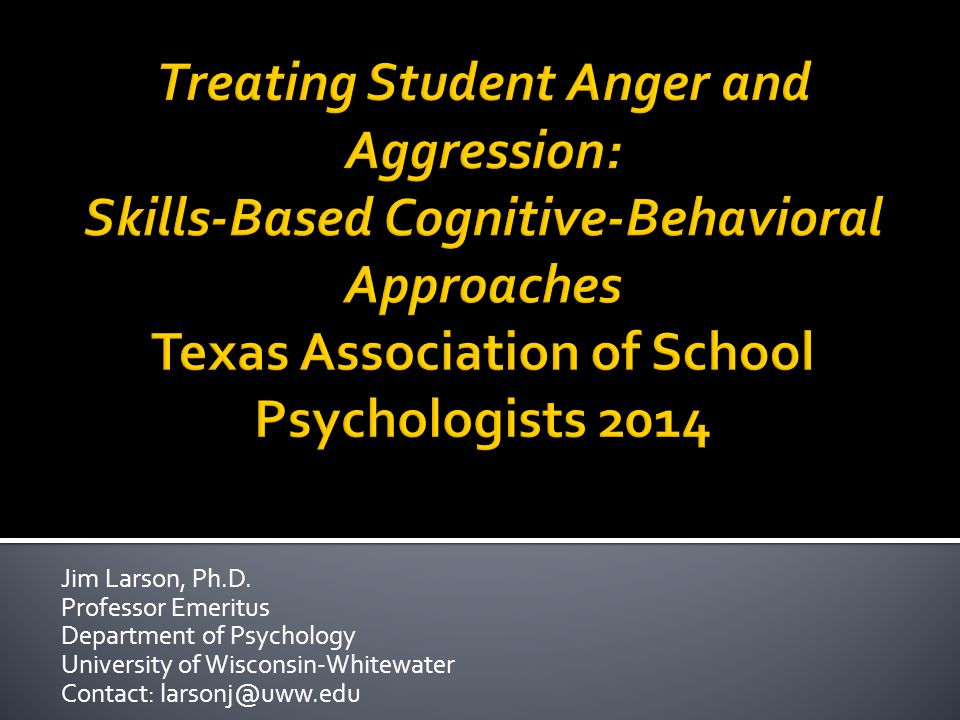  Theoretical underpinnings of reactive aggression  Screening, identification, and progress monitoring for anger treatment  CBT orientation and generalization issues  Anger management group program (8-12)  Anger management group program (13-18)  Treating individual students