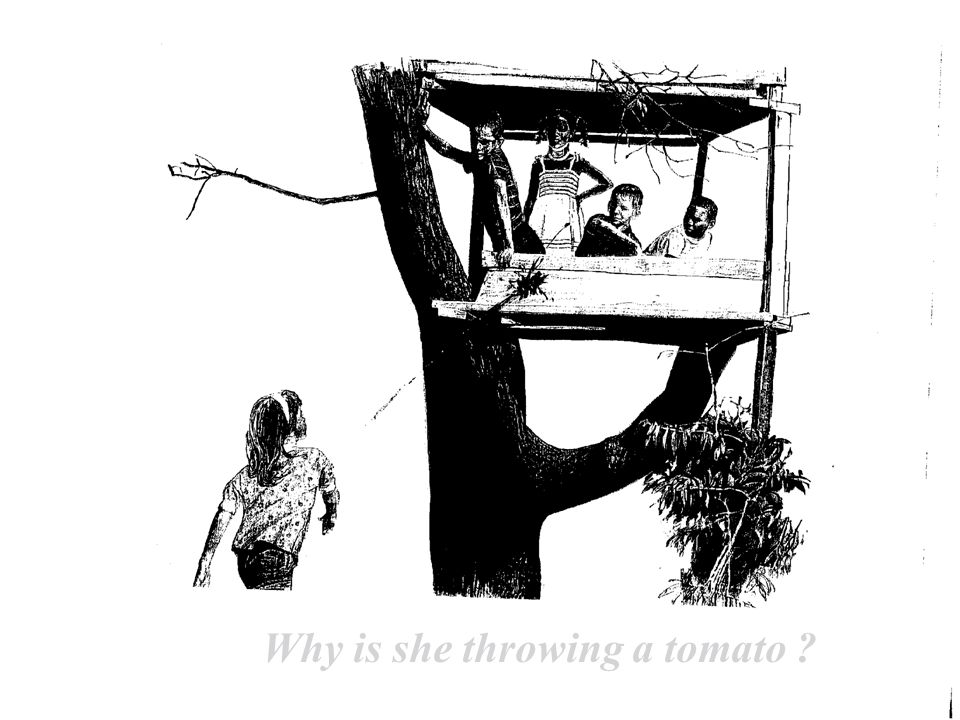 Why is she throwing a tomato ?