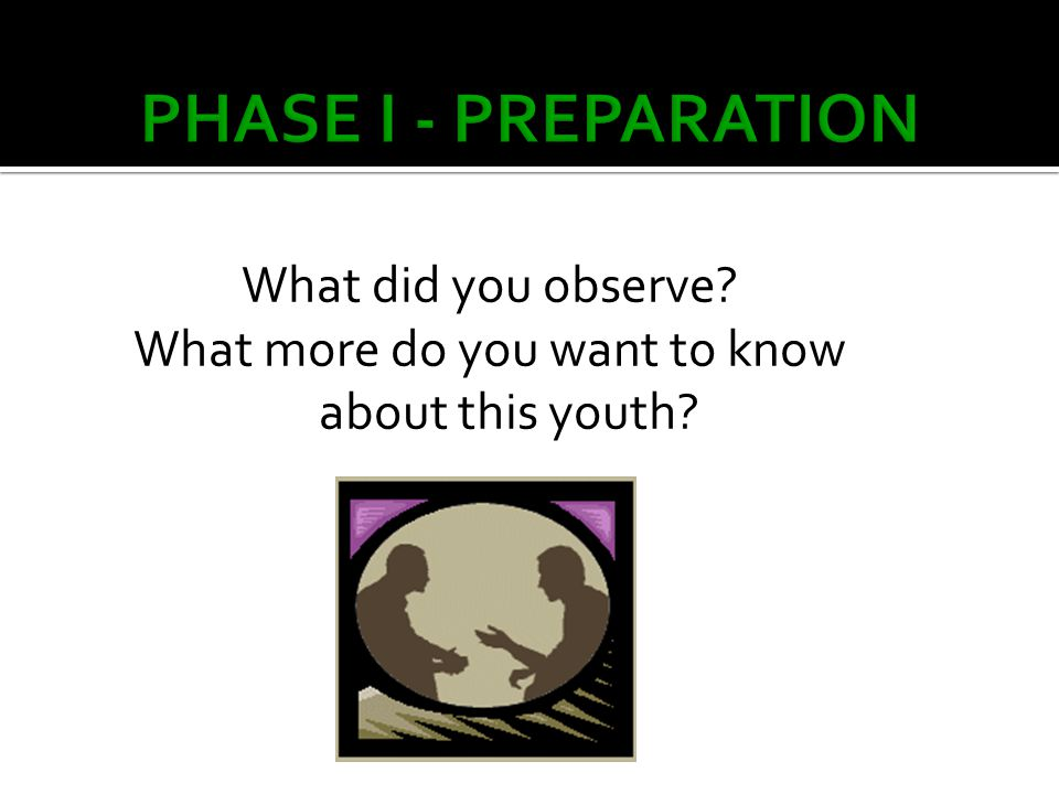What did you observe? What more do you want to know about this youth?