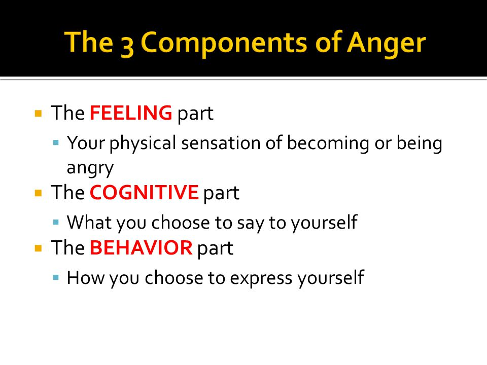  The FEELING part  Your physical sensation of becoming or being angry  The COGNITIVE part  What you choose to say to yourself  The BEHAVIOR part