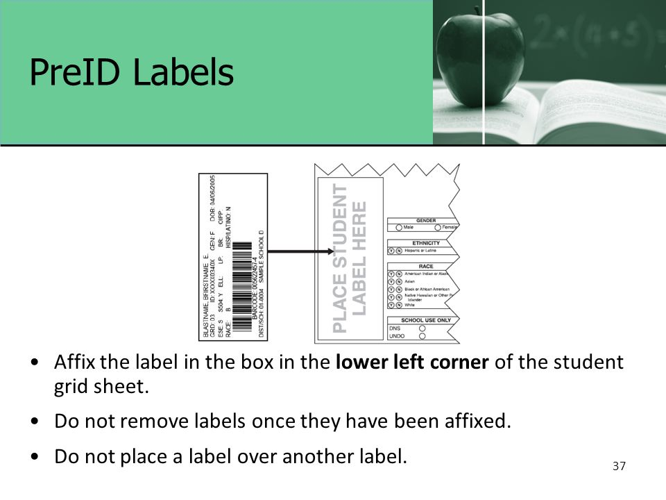 37 PreID Labels Affix the label in the box in the lower left corner of the student grid sheet.