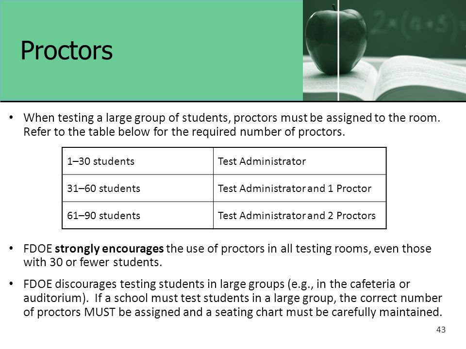 43 Proctors When testing a large group of students, proctors must be assigned to the room. Refer to the table below for the required number of proctor