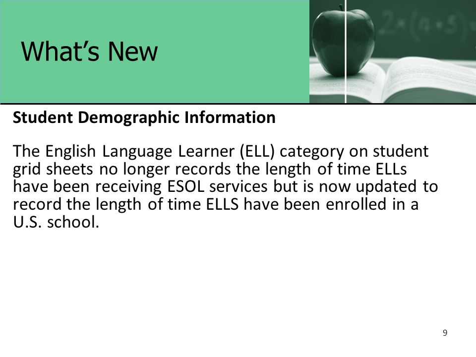 9 What's New Student Demographic Information The English Language Learner (ELL) category on student grid sheets no longer records the length of time ELLs have been receiving ESOL services but is now updated to record the length of time ELLS have been enrolled in a U.S.