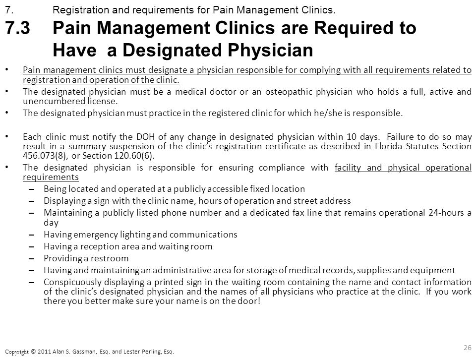 7. Registration and requirements for Pain Management Clinics.