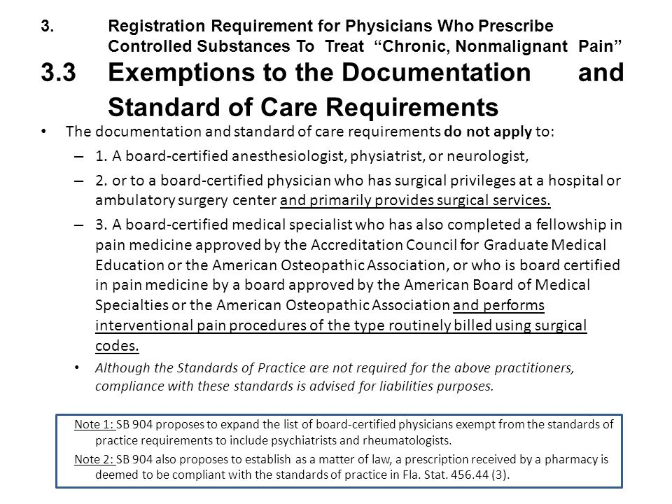 3.Registration Requirement for Physicians Who Prescribe Controlled Substances To Treat Chronic, Nonmalignant Pain 3.3 Exemptions to the Documentation and Standard of Care Requirements The documentation and standard of care requirements do not apply to: – 1.
