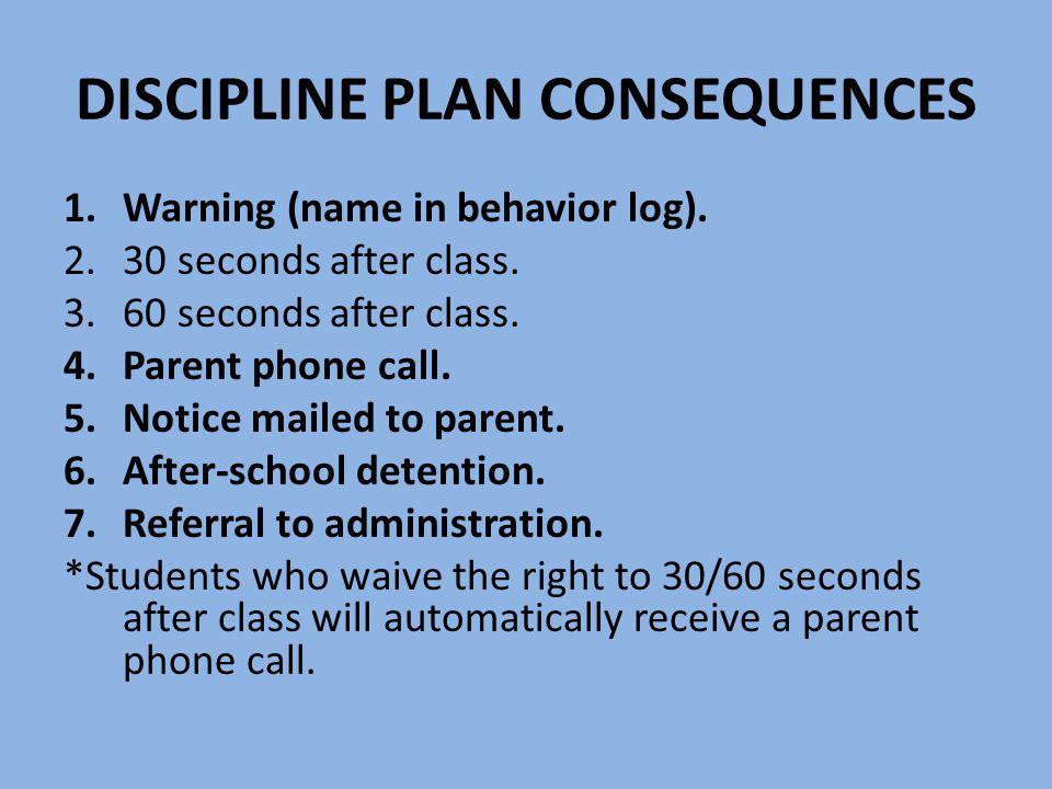 DISCIPLINE PLAN CONSEQUENCES 1.Warning (name in behavior log).