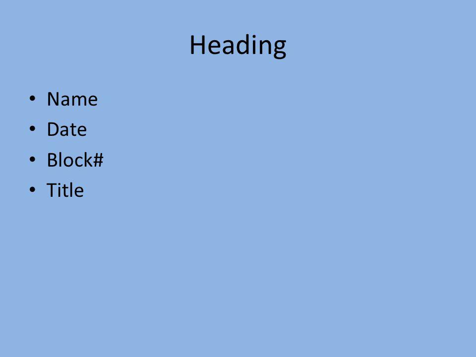 Heading Name Date Block# Title