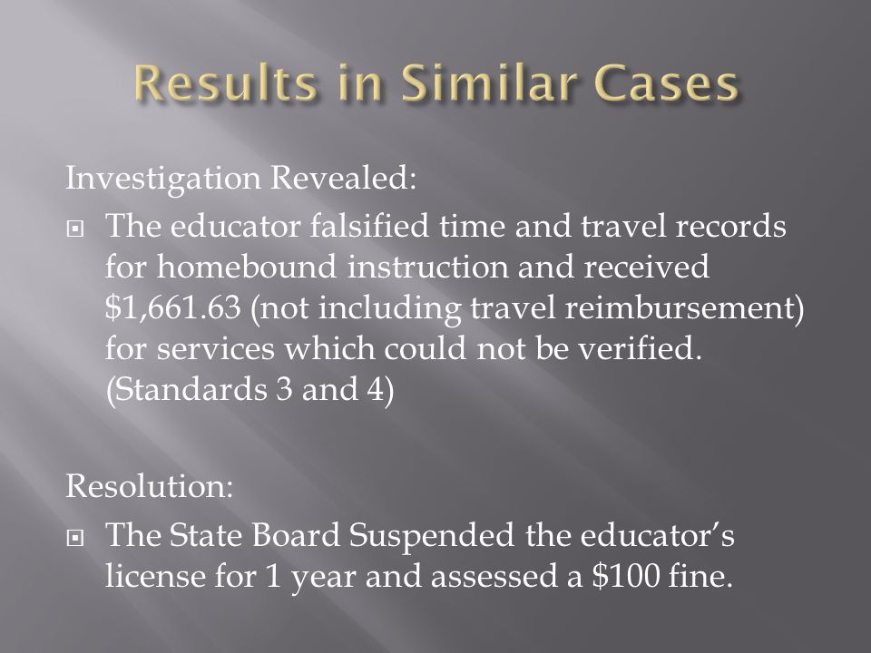Investigation Revealed:  The educator falsified time and travel records for homebound instruction and received $1,661.63 (not including travel reimbursement) for services which could not be verified.