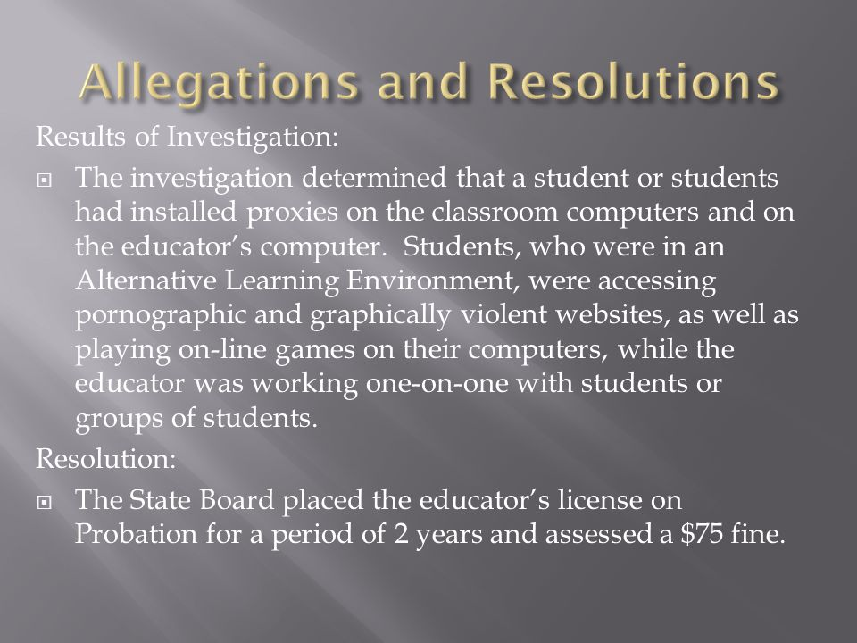 Results of Investigation:  The investigation determined that a student or students had installed proxies on the classroom computers and on the educat